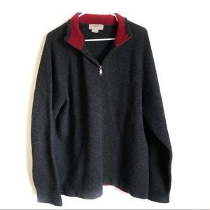 Men's J Crew Gray Quarter zip Gray Sweater XL